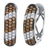 10kt White Gold Womens Round Brown Diamond Hoop Earrings 1 Cttw