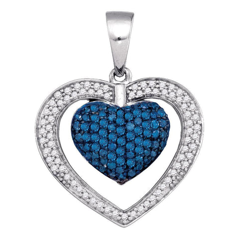 10kt White Gold Womens Round Blue Color Enhanced Diamond Heart Frame Pendant 7/8 Cttw