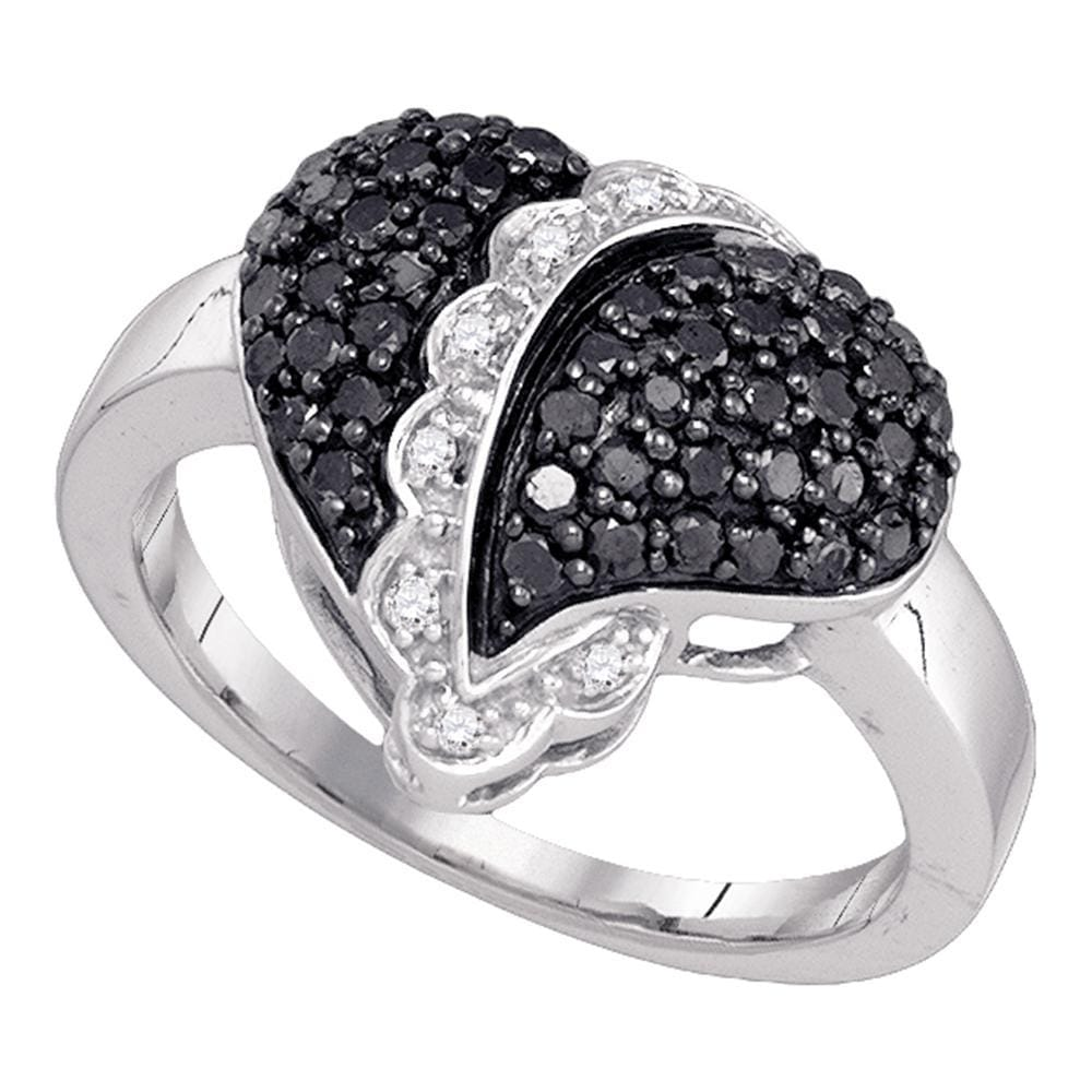 10kt White Gold Womens Round Black Color Enhanced Diamond Heart Cluster Ring 5/8 Cttw