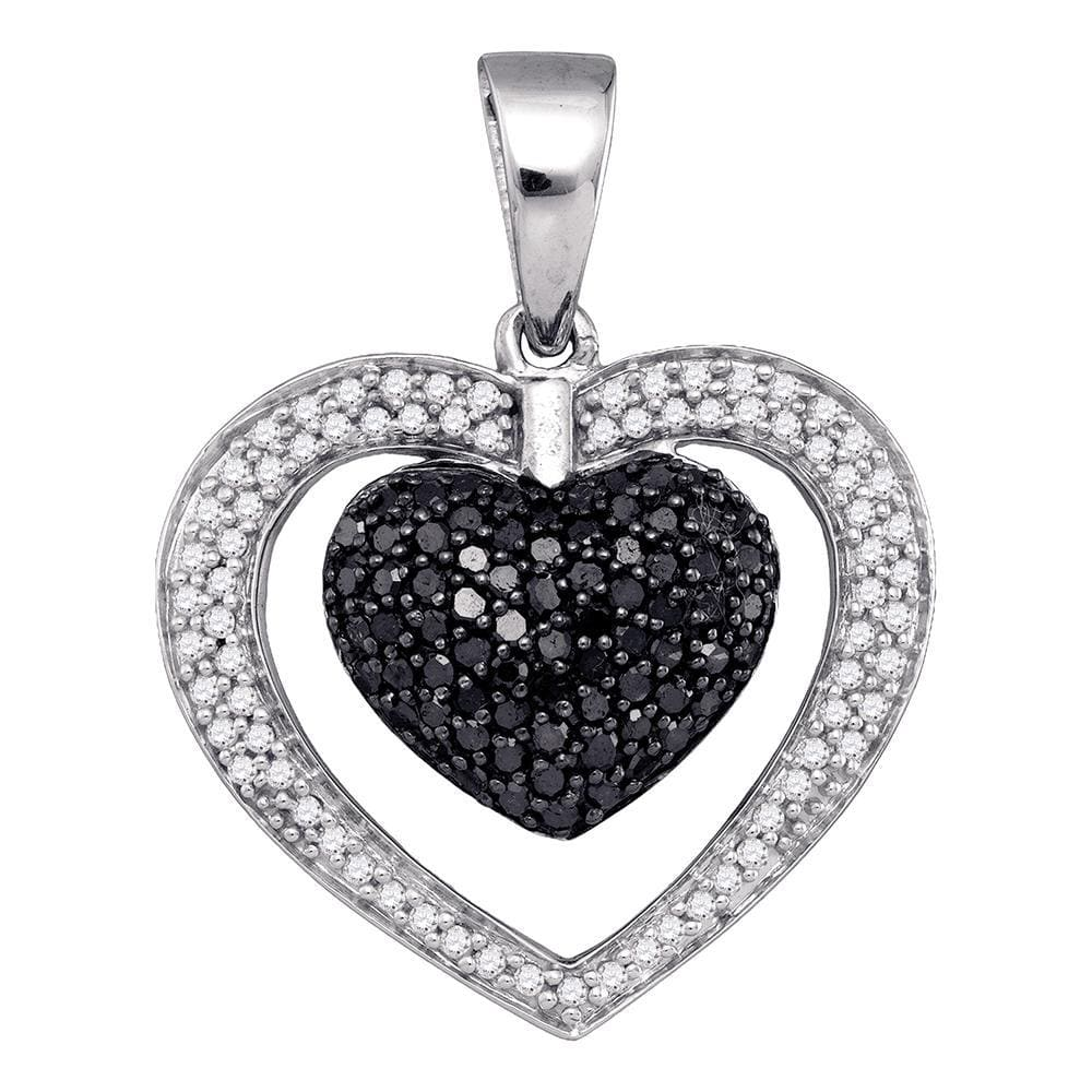 10kt White Gold Womens Round Black Color Enhanced Diamond Heart Pendant 1.00 Cttw