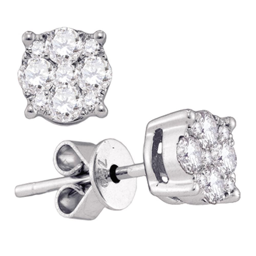 18kt White Gold Womens Round Diamond Cluster Stud Earrings 1/4 Cttw