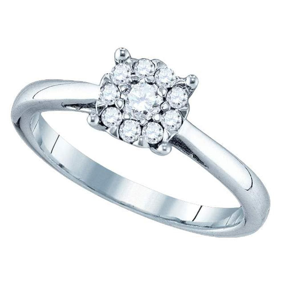 18kt White Gold Womens Round Diamond Cluster Bridal Wedding Engagement Ring 1/3 Cttw