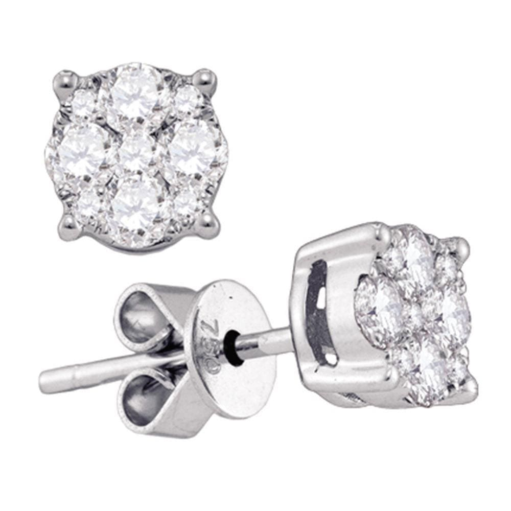 18kt White Gold Womens Round Diamond Cluster Stud Earrings 3/4 Cttw
