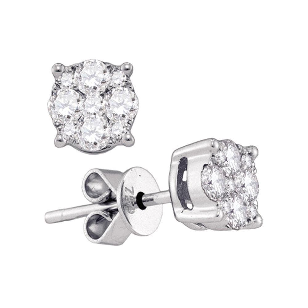 18kt White Gold Womens Round Diamond Cluster Stud Earrings 7/8 Cttw