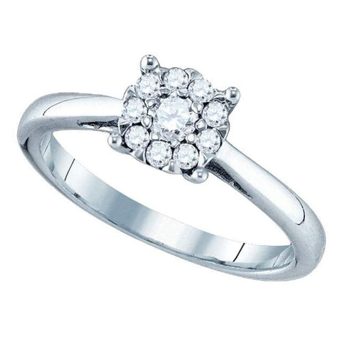 18kt White Gold Womens Round Diamond Cluster Bridal Wedding Engagement Ring 3/4 Cttw