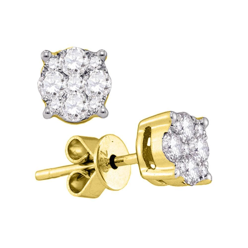 18kt Yellow Gold Womens Round Diamond Cluster Stud Earrings 7/8 Cttw