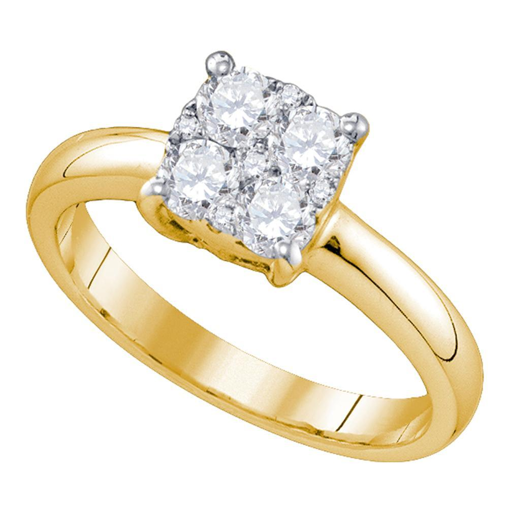 18kt Yellow Gold Womens Round Diamond Cluster Bridal Wedding Engagement Ring 1/3 Cttw