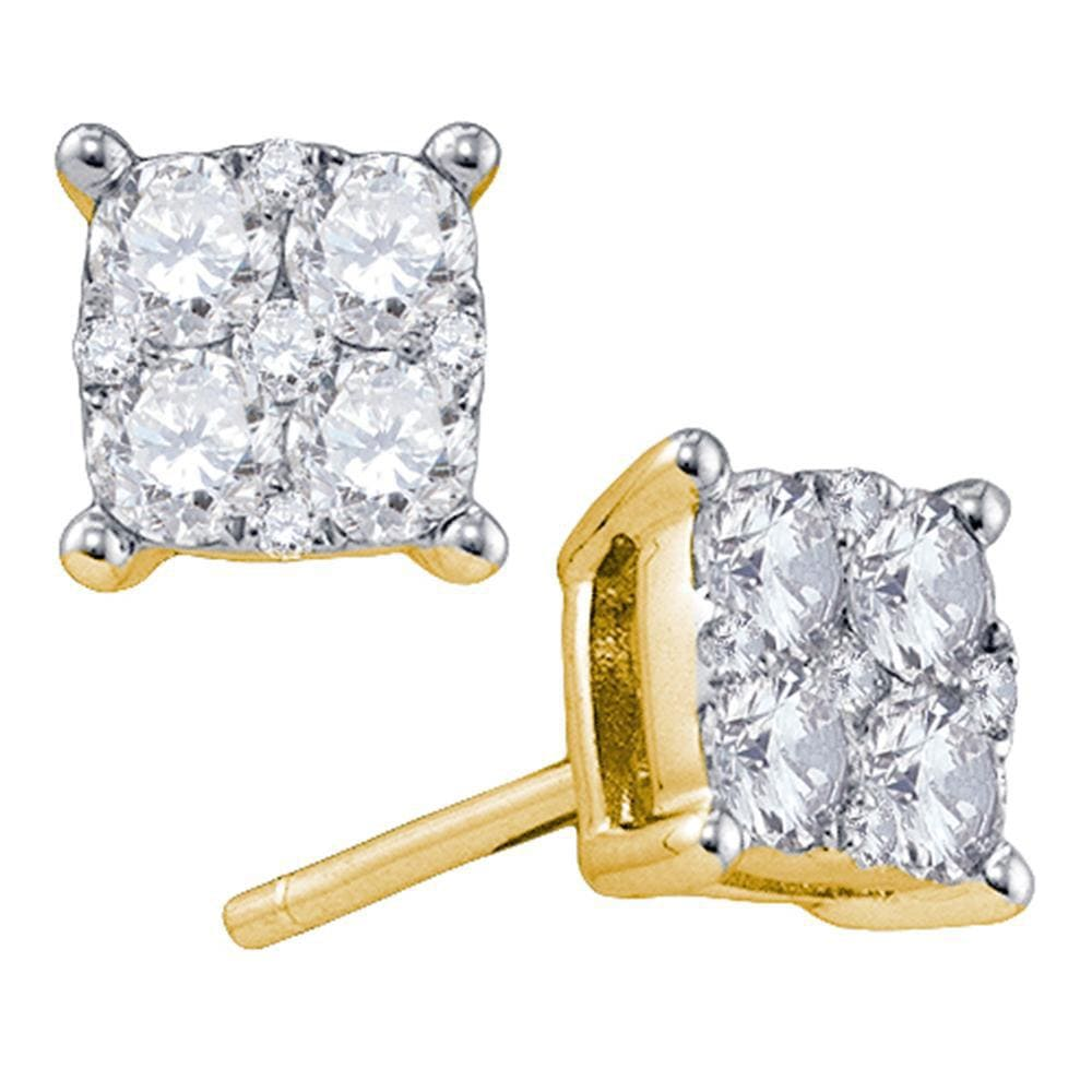 18kt Yellow Gold Womens Round Diamond Square Cluster Screwback Earrings 1.00 Cttw
