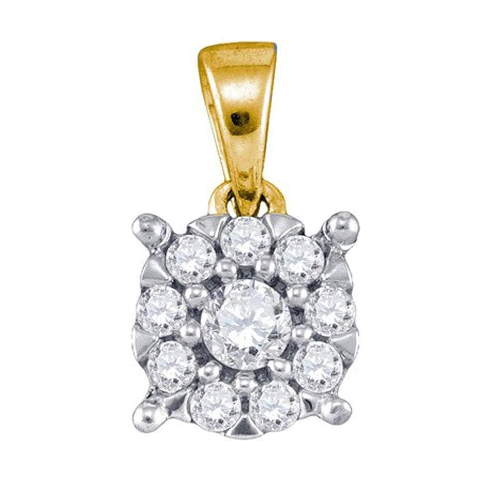 10kt Yellow Gold Womens Round Diamond Flower Cluster Pendant 1/4 Cttw