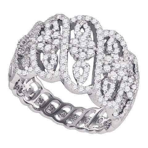 10kt White Gold Womens Round Diamond Striped Cluster Cocktail Band Ring 1-1/20 Cttw