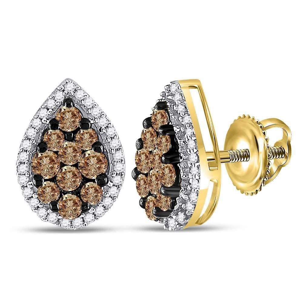 10kt Yellow Gold Womens Round Brown Color Enhanced Diamond Teardrop Cluster Earrings 1.00 Cttw