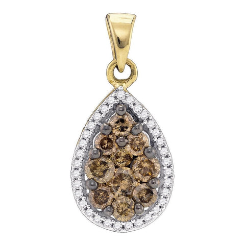 10kt Yellow Gold Womens Round Brown Color Enhanced Diamond Teardrop Pendant 3/4 Cttw