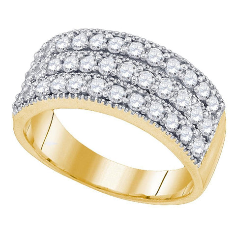 10kt Yellow Gold Womens Round Triple Row Diamond Band Ring 1.00 Cttw
