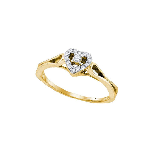 10kt Yellow Gold Womens Round Diamond Heart Love Promise Bridal Ring 1/8 Cttw