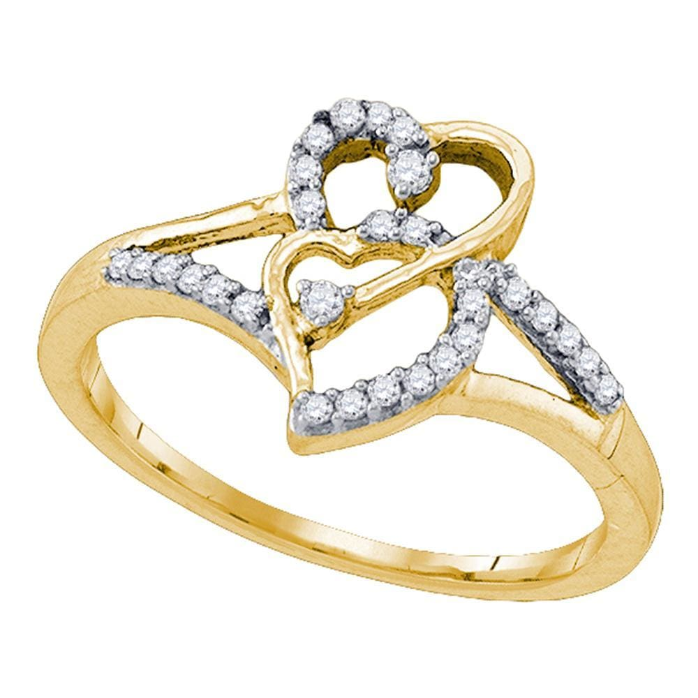 10k Yellow Gold Womens Round Diamond Double Heart Promise Bridal Ring 1/6 Cttw