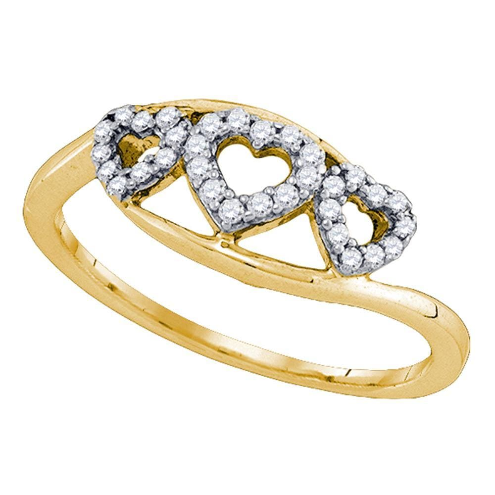 10kt Yellow Gold Womens Round Diamond Heart Love Ring 1/5 Cttw