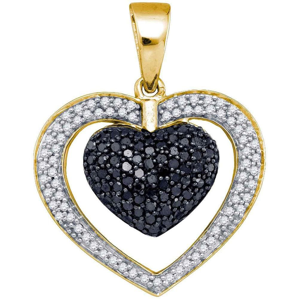 10kt Yellow Gold Womens Round Black Color Enhanced Diamond Heart Pendant 1.00 Cttw