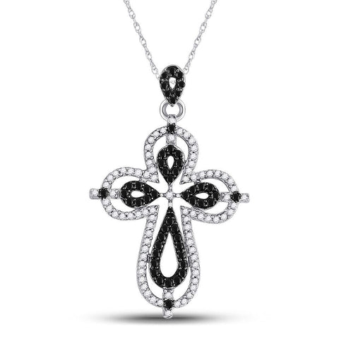 10kt White Gold Womens Round Black Color Enhanced Diamond Cross Faith Pendant 1/2 Cttw