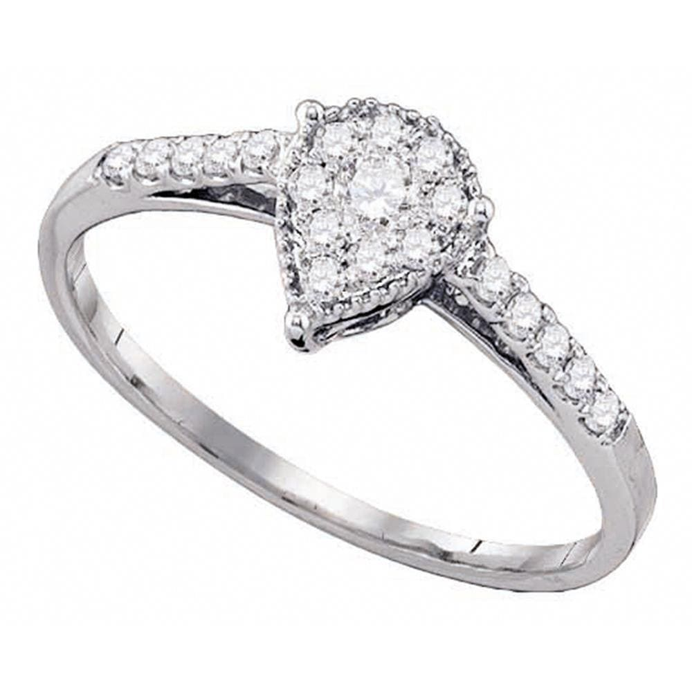 10kt White Gold Womens Round Diamond Teardrop Cluster Ring 1/4 Cttw