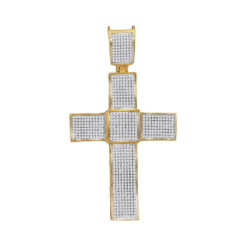 10kt Yellow Gold Mens Round Diamond Christian Cross Charm Pendant 1.00 Cttw