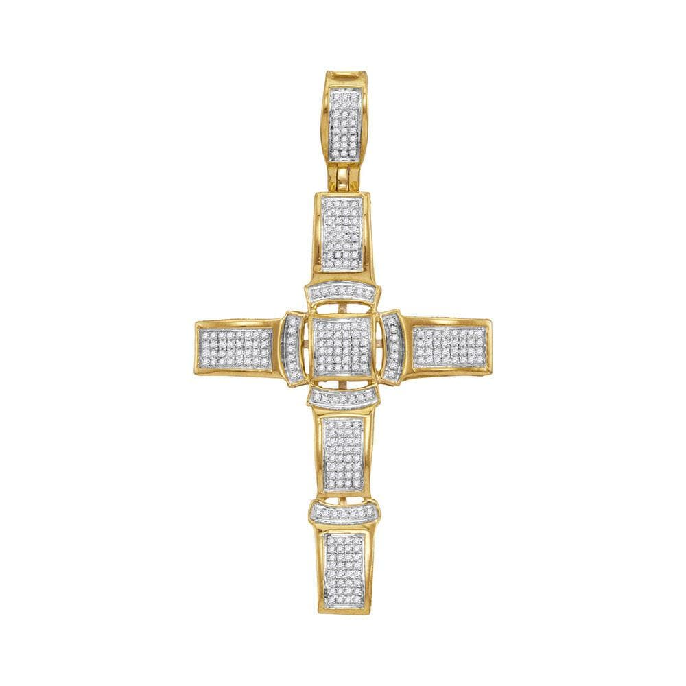 10kt Yellow Gold Mens Round Diamond Segmented Christian Cross Charm Pendant 1/2 Cttw