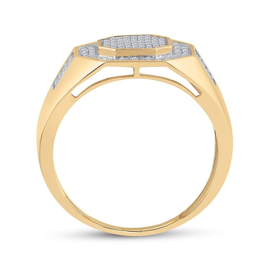 10kt Yellow Gold Mens Round Diamond Octagon Cluster Ring 3/ Cttw