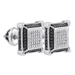 Sterling Silver Mens Round Diamond Cluster 3D Square Black Earrings 1/10 Cttw