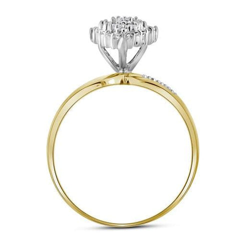 10kt Yellow Gold Womens Round Prong-set Diamond Oval Cluster Ring 1/8 Cttw