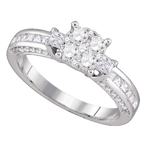 18kt White Gold Womens Round Diamond Cluster Bridal Wedding Engagement Ring 7/8 Cttw