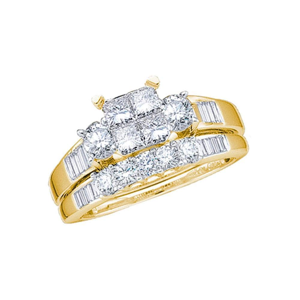 10kt Yellow Gold Womens Princess Diamond Cluster Bridal Wedding Engagement Ring Band Set 7/8 Cttw
