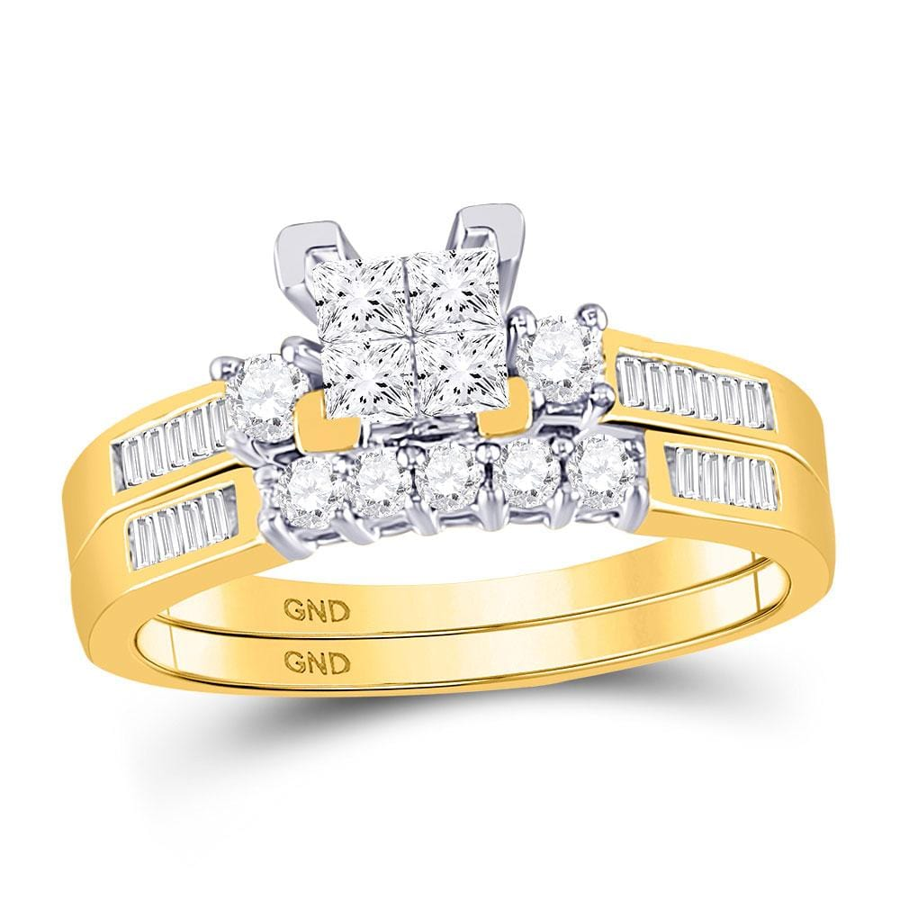 10kt Yellow Gold Womens Princess Diamond Bridal Wedding Engagement Ring Band Set 1/2 Cttw - Size 8