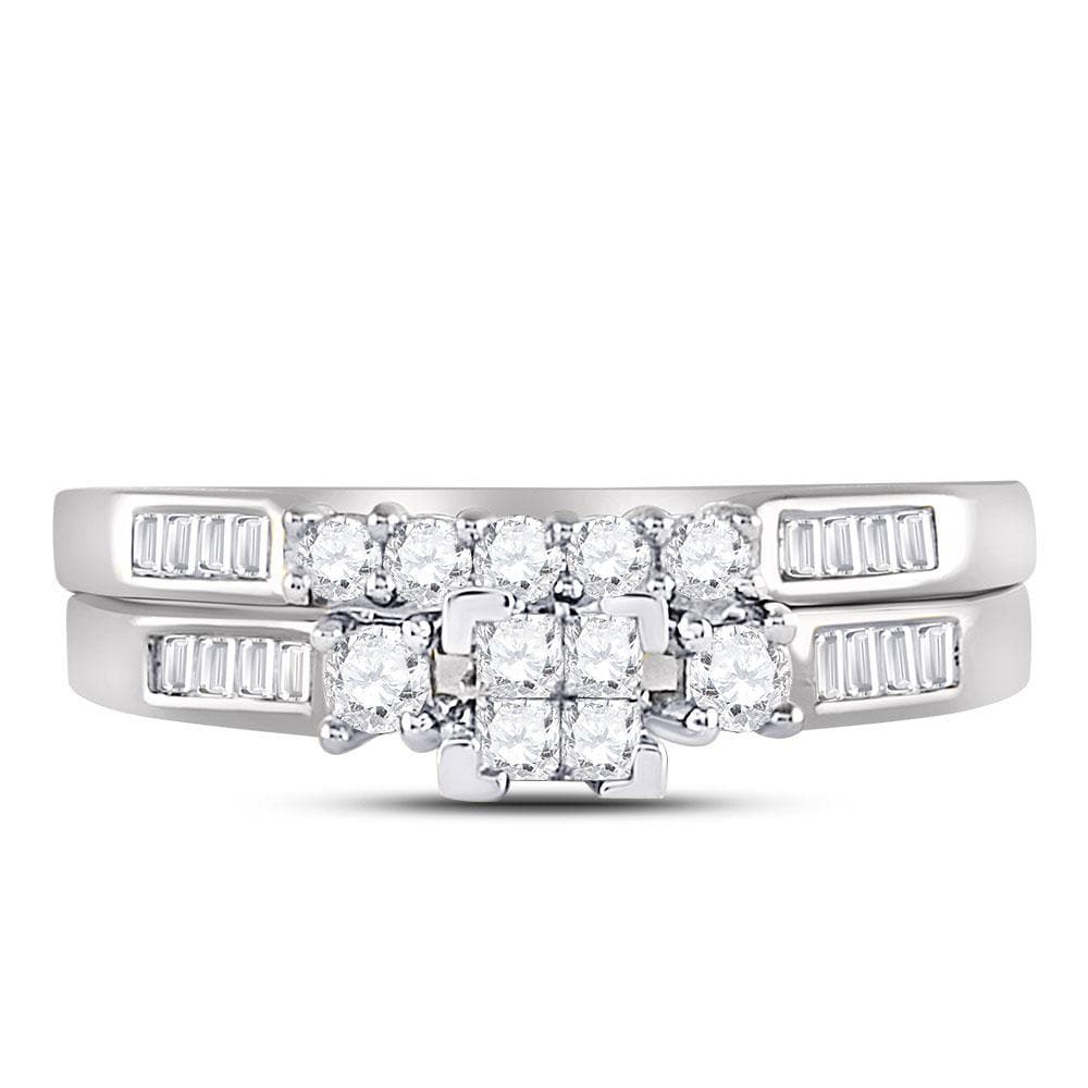 10kt White Gold Womens Princess Diamond Bridal Wedding Engagement Ring Band Set 1/2 Cttw - Size 8