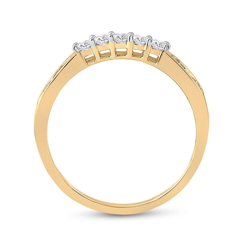 14kt Yellow Gold Womens Princess Diamond Bridal Wedding Engagement Ring Band Set 1.00 Cttw - Size 5