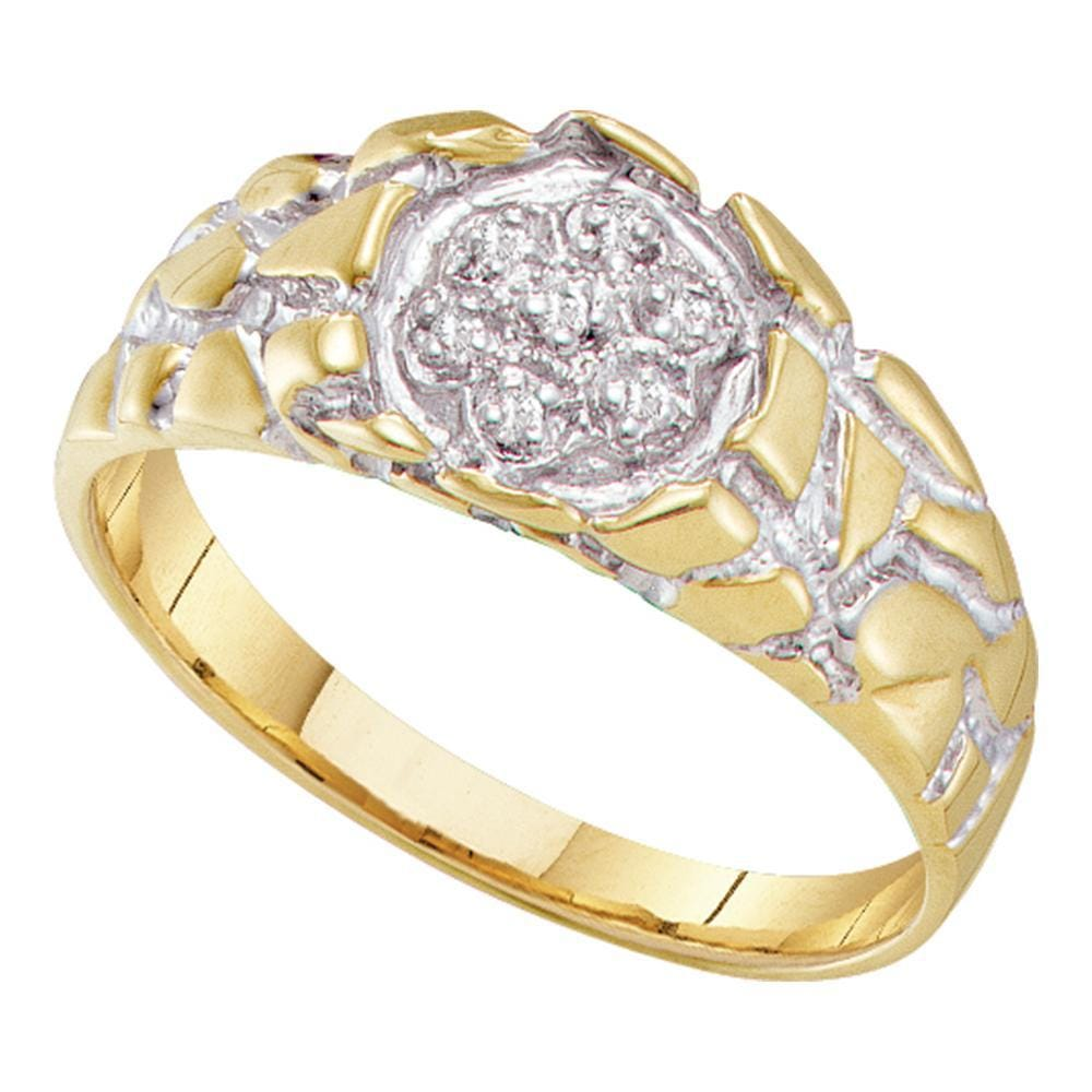 10kt Yellow Gold Mens Round Diamond 2-tone Nugget Band Ring 1/20 Cttw
