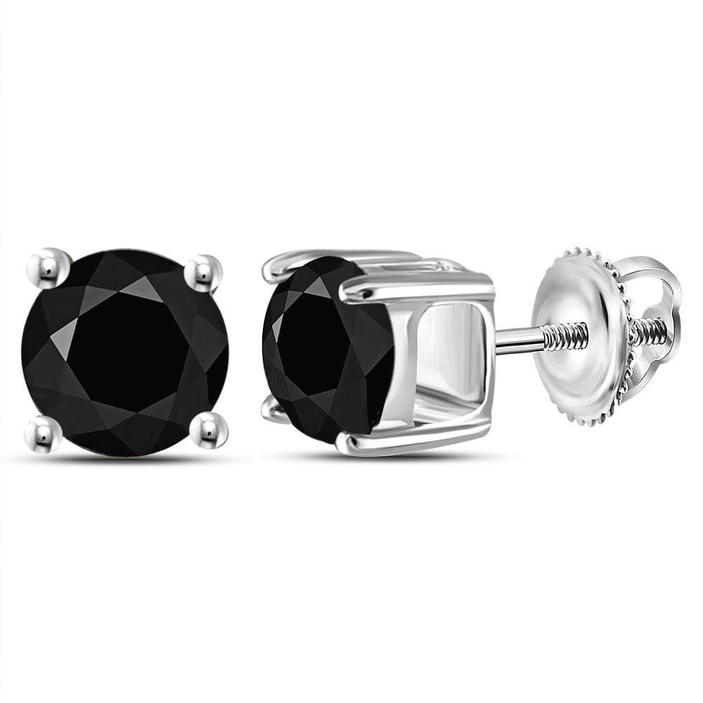 14kt White Gold Unisex Round Black Color Enhanced Diamond Solitaire Stud Earrings 2 Cttw