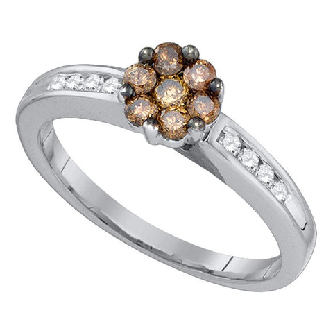 10kt White Gold Womens Round Cognac-brown Color Enhanced Diamond Cluster Ring 1/2 Cttw