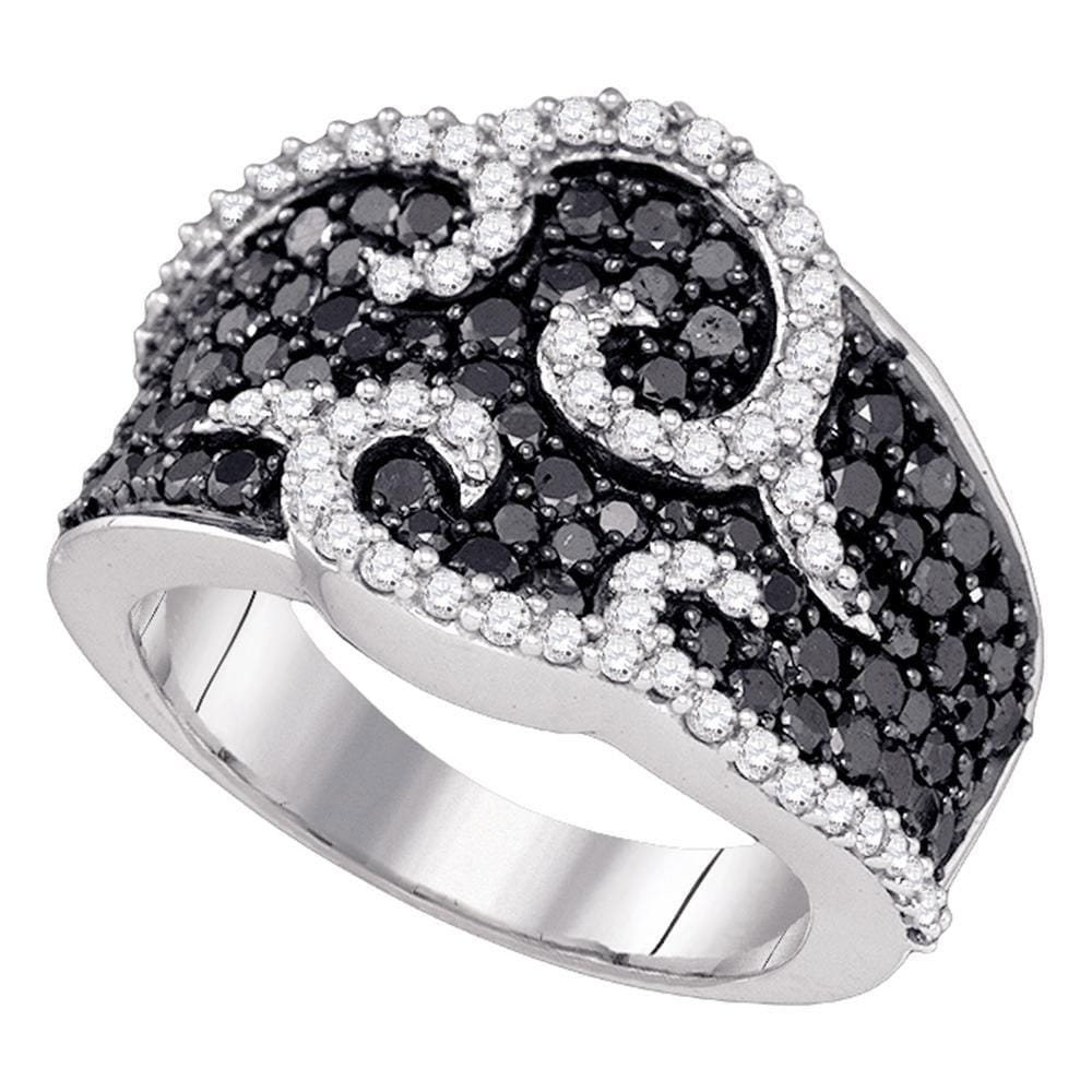 10kt White Gold Womens Round Black Color Enhanced Diamond Curl Fashion Ring 2.00 Cttw