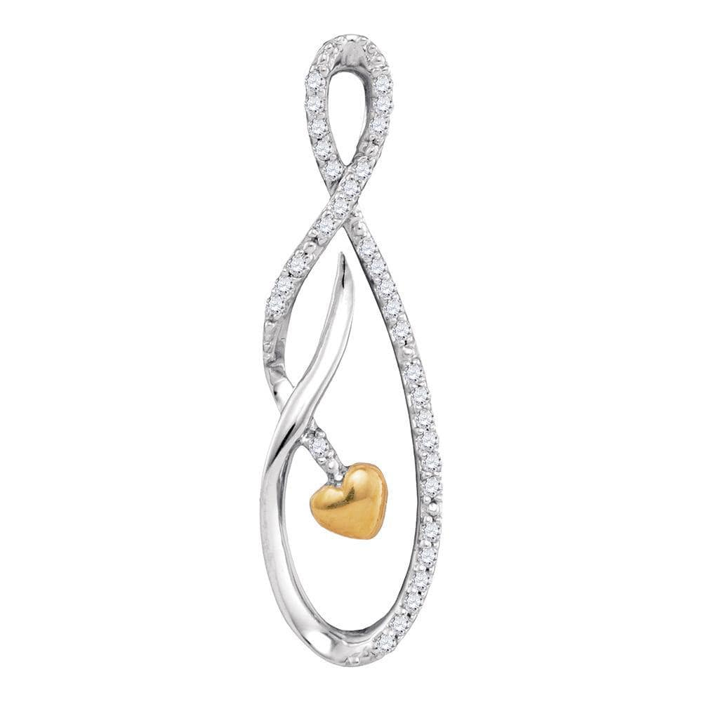 Sterling Silver Womens Round Diamond Oval Heart Pendant 1/10 Cttw