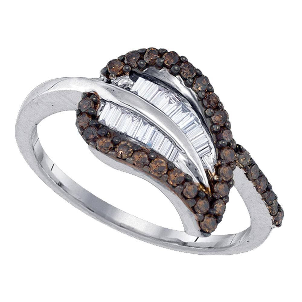 Sterling Silver Womens Round Cognac-brown Color Enhanced Diamond Leaf Petal Cluster Ring 3/8 Cttw
