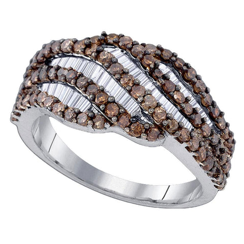 Sterling Silver Womens Round Brown Color Enhanced Diamond Fashion Ring 1-1/4 Cttw