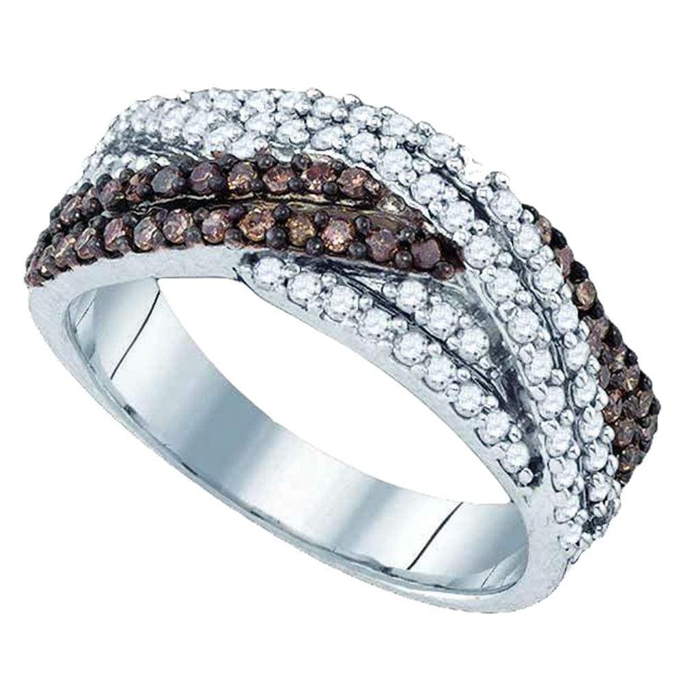 Sterling Silver Womens Round Cognac-brown Color Enhanced Diamond Woven Crossover Band Ring 3/4 Cttw