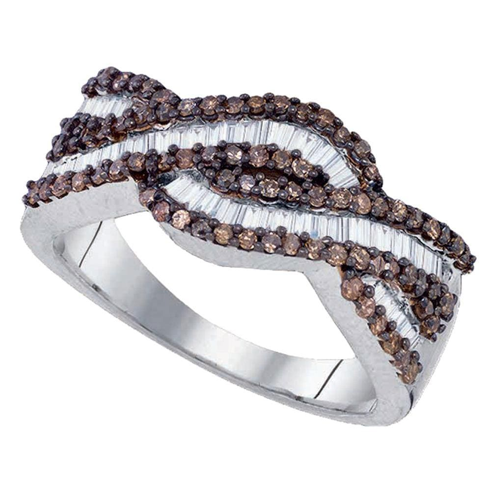 Sterling Silver Womens Round Brown Color Enhanced Diamond Woven Band Ring 3/4 Cttw
