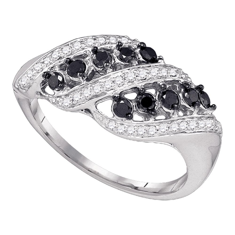 10kt White Gold Womens Round Black Color Enhanced Diamond Fashion Ring 1/2 Cttw