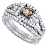 14kt White Gold Womens Round Brown Diamond Bridal Wedding Ring Band Set 1 Cttw