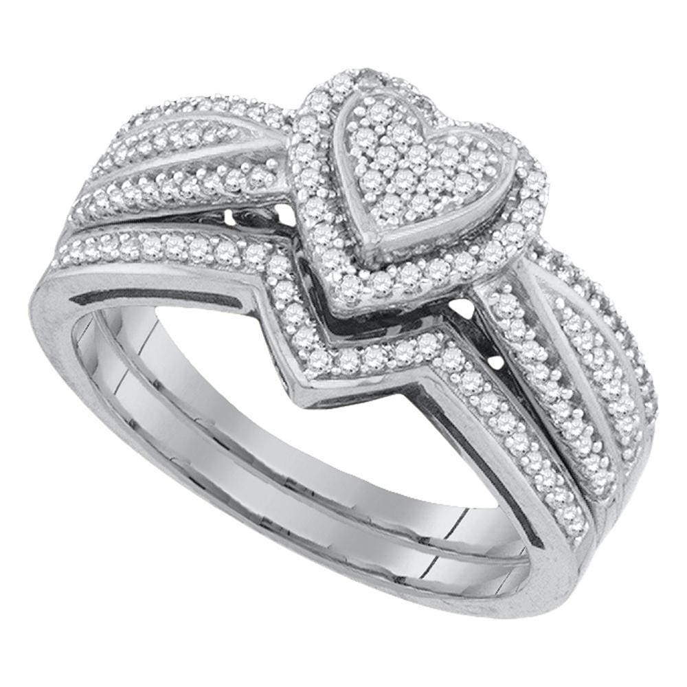 10kt White Gold Womens Round Diamond Heart Cluster Bridal Wedding Engagement Ring Band Set 3/8 Cttw