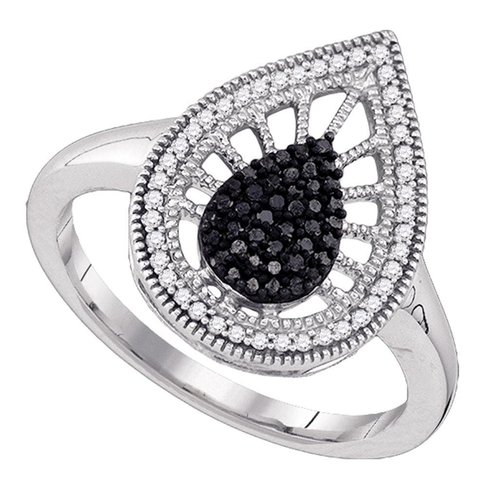 10kt White Gold Womens Round Black Color Enhanced Diamond Teardrop Ring 1/3 Cttw