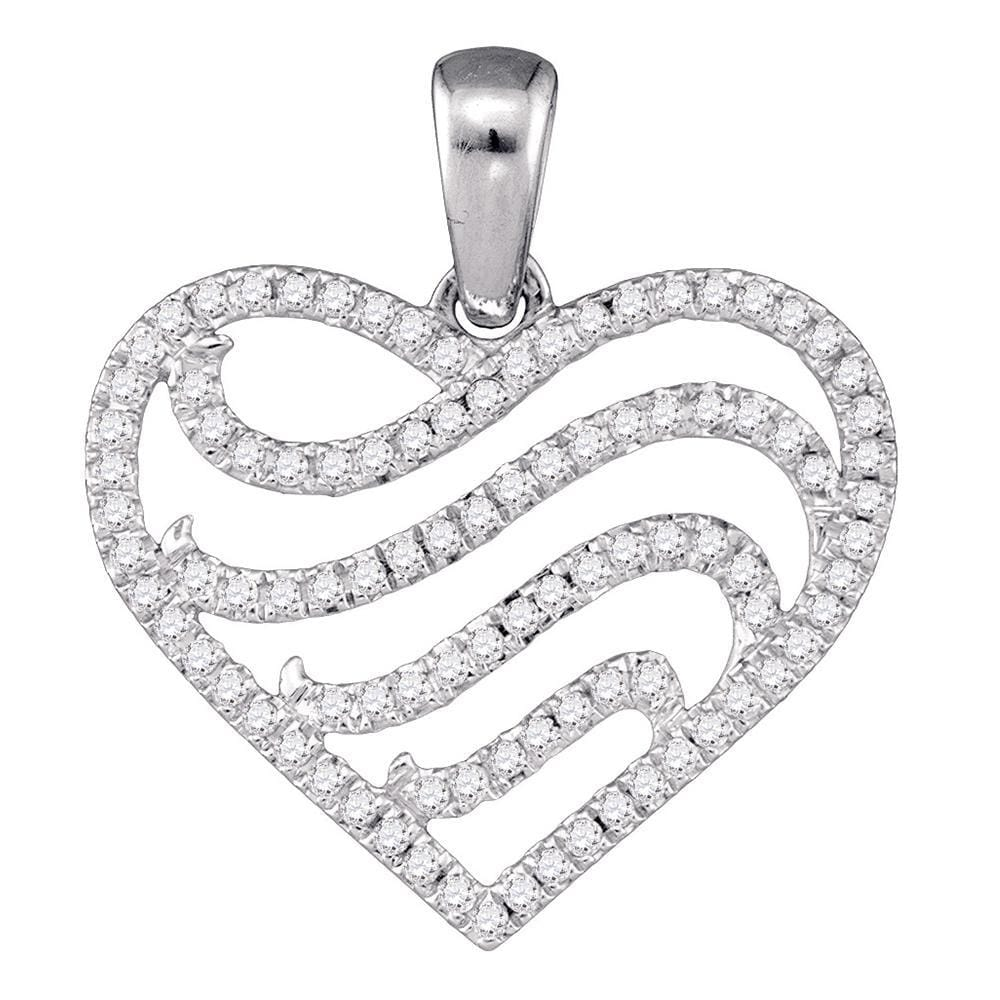 10kt White Gold Womens Round Diamond Striped Heart Pendant 1/4 Cttw