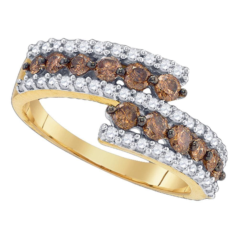 10kt Yellow Gold Womens Round Cognac-brown Color Enhanced Diamond Band Ring 1.00 Cttw