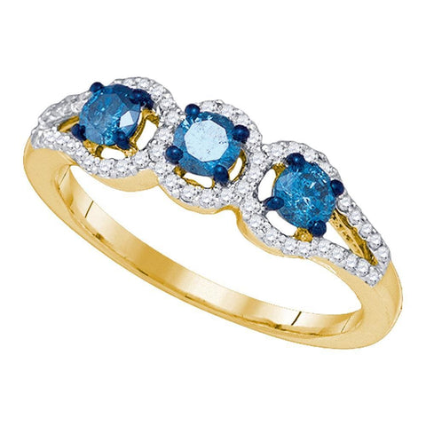 10kt Yellow Gold Womens Round Blue Color Enhanced Diamond 3-stone Bridal Wedding Engagement Ring 5/8 Cttw
