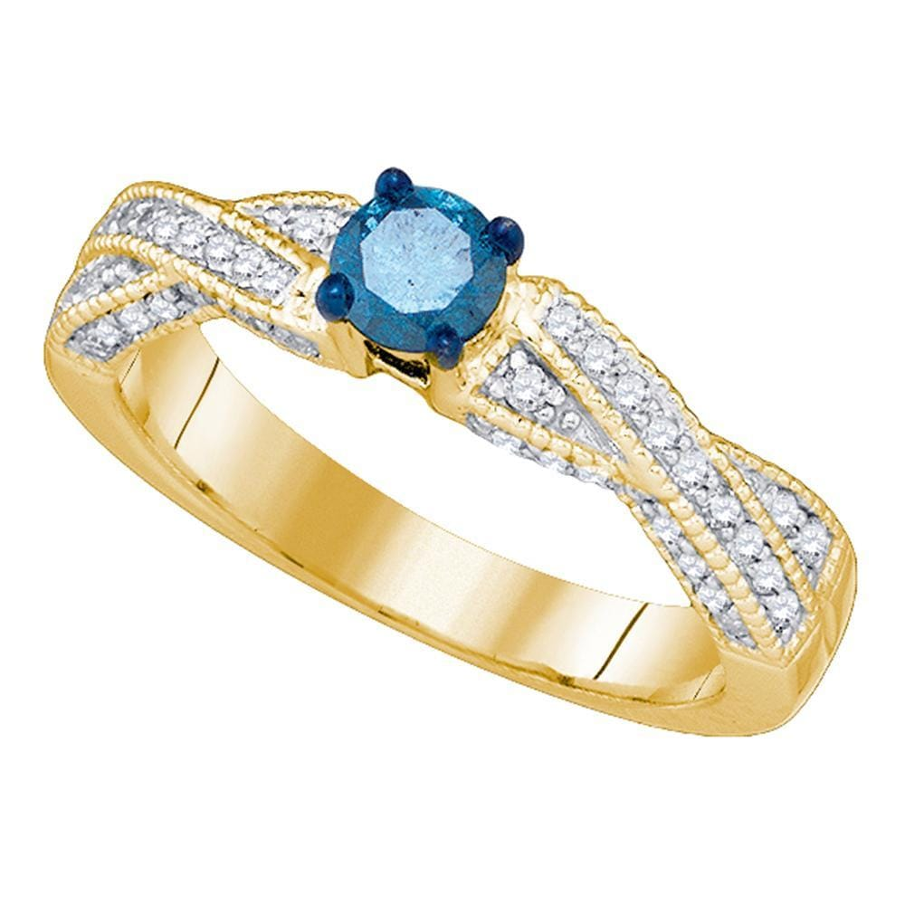 10kt Yellow Gold Womens Round Blue Color Enhanced Diamond Solitaire Bridal Wedding Engagement Ring 5/8 Cttw